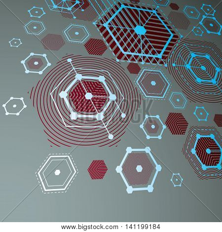 Bauhaus art dimensional composition perspective red modular vector backdrop with honeycombs.