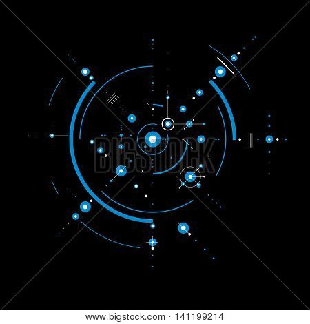 Vector Bauhaus abstract blue background made with grid and overlapping simple geometric elements circles.