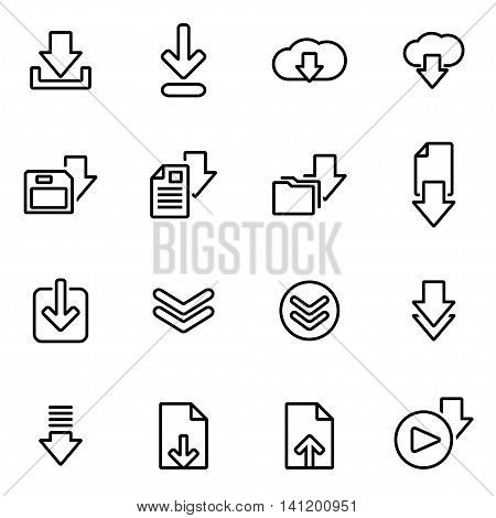 Vector line download icon set on white background