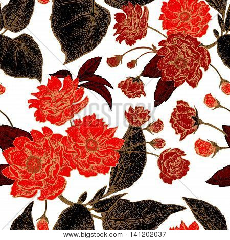 Vector seamless pattern with flower Chinese plum. Floral pattern with leaves flowers and branches of the tree Chinese plum. Design paper wallpaper and fabrics. Black red white gold.