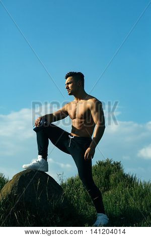 Muscular Man With Water Bottle