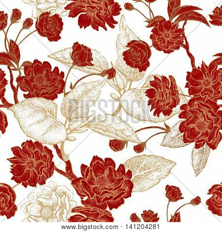 Vector seamless pattern with flower Chinese plum. Floral pattern with leaves flowers and branches of the tree Chinese plum. Design paper wallpaper and fabrics. Red white gold.