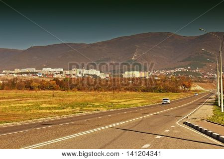 View on residential district Northern in sea resort town of Gelendzhik on Black sea coast. Retro card styling