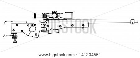 A modern sniper rifle isolated on white.