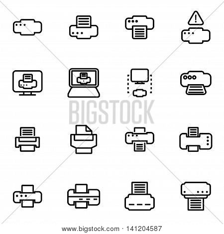 Vector line printer icon set on white background