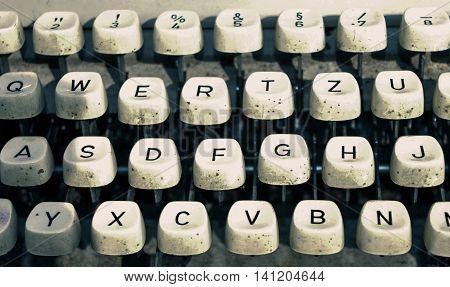 Close up image of old retro typewriter keys