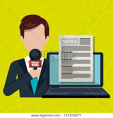 reporter avatar with laptop isolated icon design, vector illustration  graphic