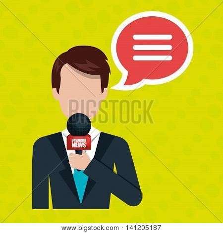 reporter avatar with speech bubble isolated icon design, vector illustration  graphic