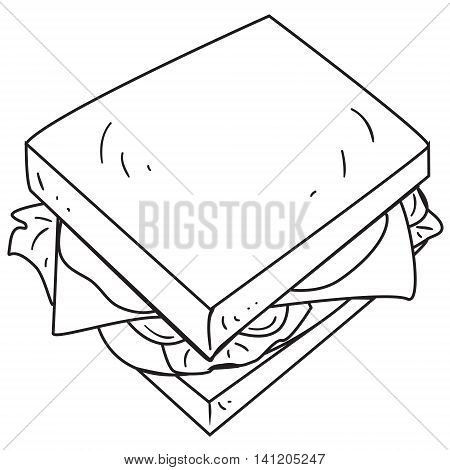 Vector illustration of cheese sandwich in black and white outlined doodle style