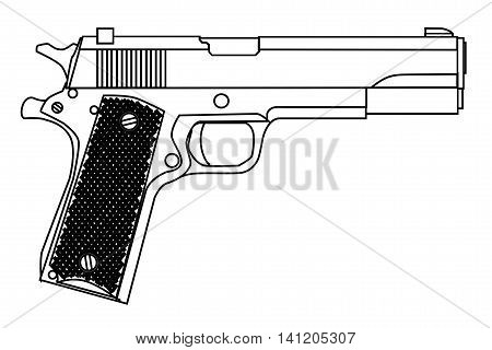 A typical 45 automatic hand gun isolated on white.