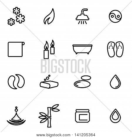 Vector line spa icon set on white background