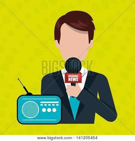 reporter avatar with radio isolated icon design, vector illustration  graphic