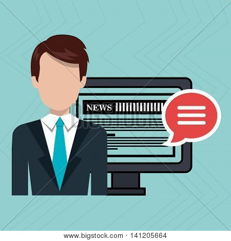 reporter avatar with computer isolated icon design, vector illustration  graphic