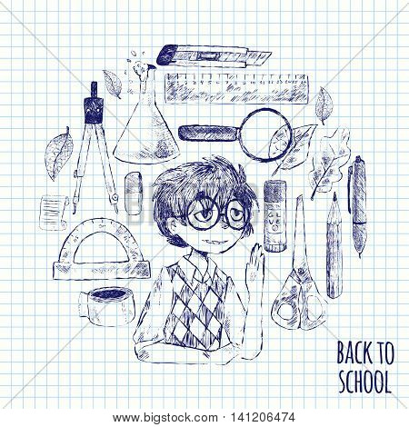 Vector illustration of a back to school in circle. The student pen pencil eraser glass lamps notebooks scissors protractor glue dividers ruler crib. Autumn leaves. Sketch. Black and white.