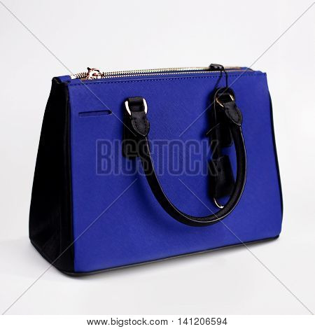 blue female bag on a white background