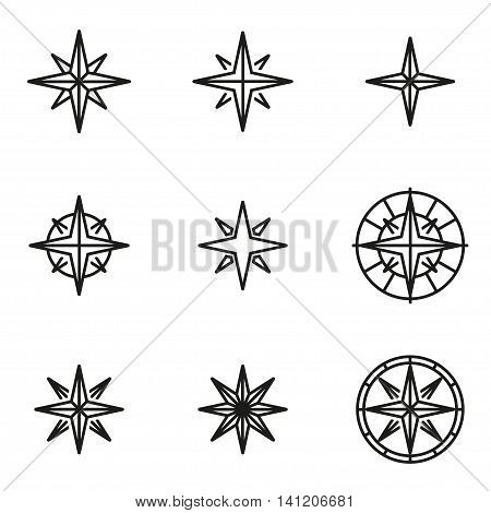 Vector line wind rose icon set on white background