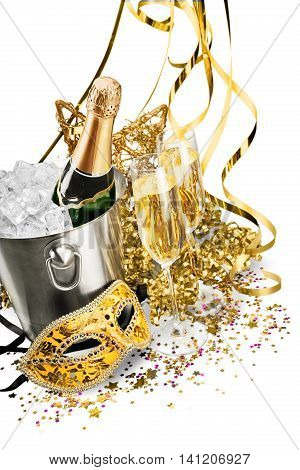 Bottle of Champagne in Ice Bucket with Flutes, Streamers and Mask