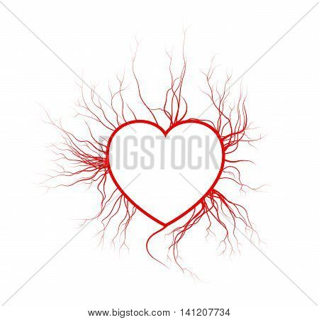 Human Veins With Heart, Red Love Blood Vessels Valentine Design. Vector Illustration Isolated On Whi