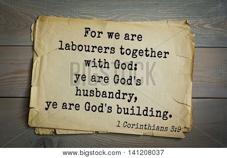Top 500 Bible verses. For we are labourers together with God: ye are God's husbandry, ye are God's building.    1 Corinthians 3:9