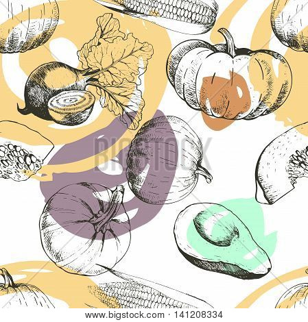 Vector seamless patern of vegetables. Pumpkin corn beetroot avocado. Hand drawn engraved vintage illustration with modern brush spot. Good for Thanksgivig and Halloween celebration. Autumn harvest.