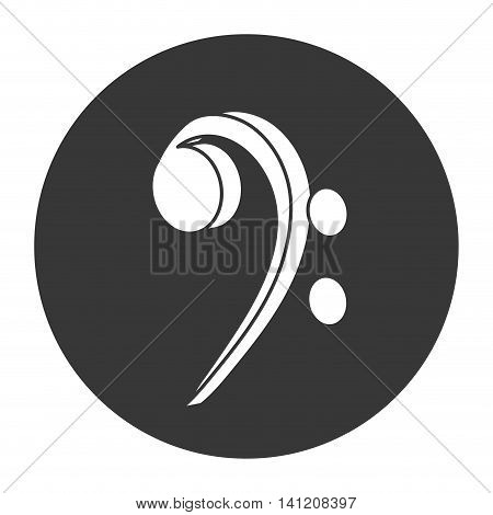 flat design bass clef musical note icon vector illustration