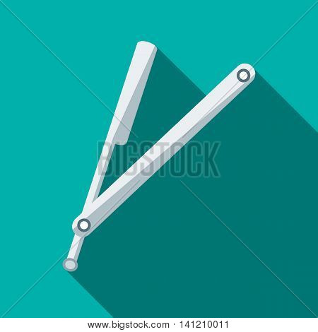 Retro razor icon in flat style on a turquoise background