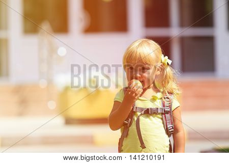 Back to school - cute little girl goes to preschool or daycare