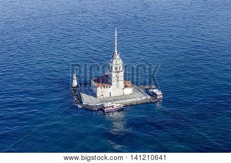 Maiden's Tower on bosphorus sea from aerial
