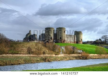 Rhuddlan Castle from across the river Clwyd, Denbighshire, Wales.