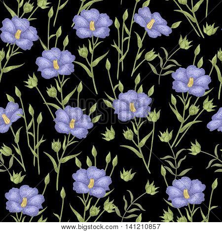 Vintage vector pattern with flowers linen on a black background. Graphic handmade textiles fabrics paper curtains curtains wallpaper vintage style.