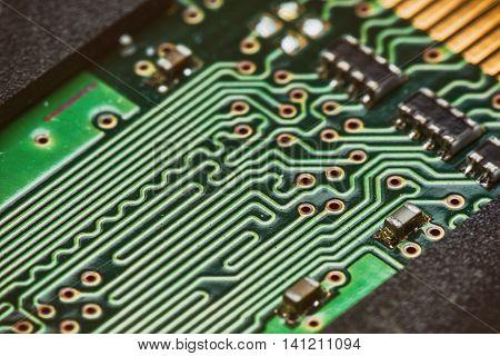 Electronic green  circuit  board .  Macro .