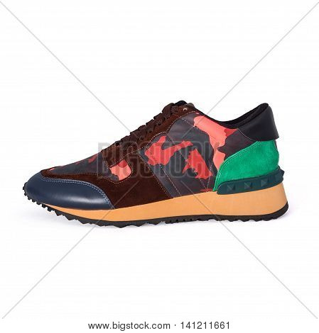 stylish colored sneakers on a white background