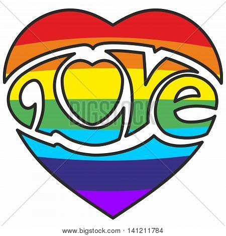 Rainbow striped heart with groovy cursive embedded Love logo.