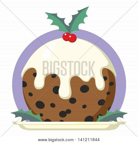 Christmas Pudding on plate with holly - vector cartoon illustration