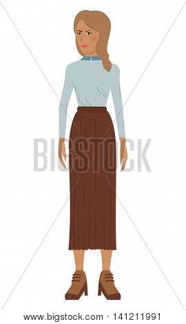 flat design single woman icon with long skirt vector illustration