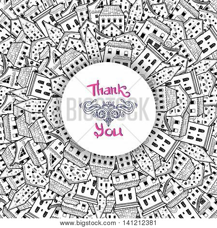Black and white round border made of houses with place for text, hand-drawn frame, can be used for invitations, postcards, flyers, cup, card, Eps 10