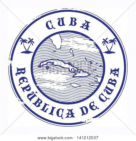Grunge rubber stamp with the name and map of Cuba, vector illustration
