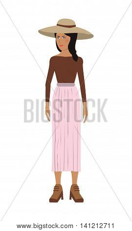 flat design single woman icon with long skirt and hat vector illustration
