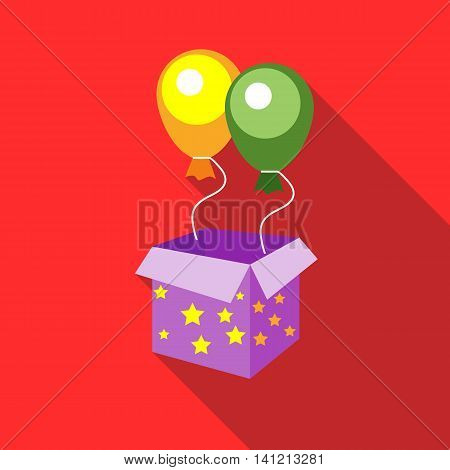 Balloons appearing from magic box icon in flat style on a red background
