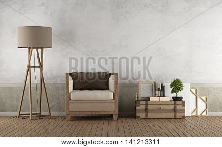 Vintage Living Room With Wooden Armchair