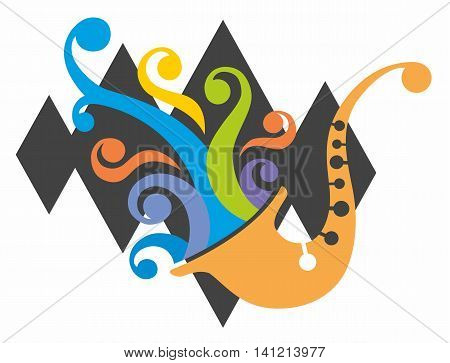 Jazz Saxophone Logo with Colored Music Swirls over Background of Black Diamonds.