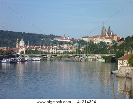 Panorama Of Prague City With Vltava River