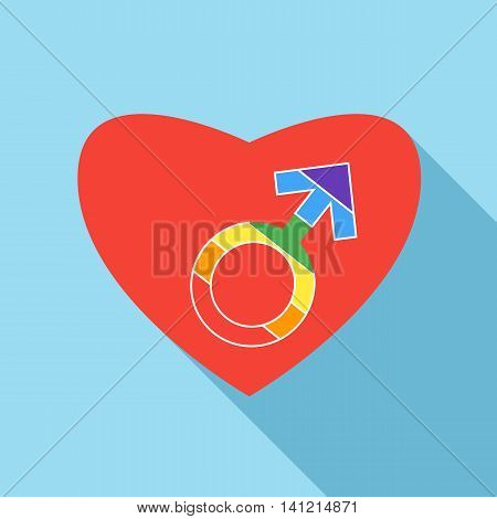 Red heart with male rainbow gender symbol icon in flat style on a light blue background