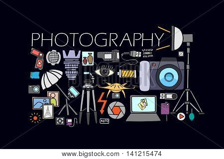 vector illustration of flat line art design of  Photography concept for web design template