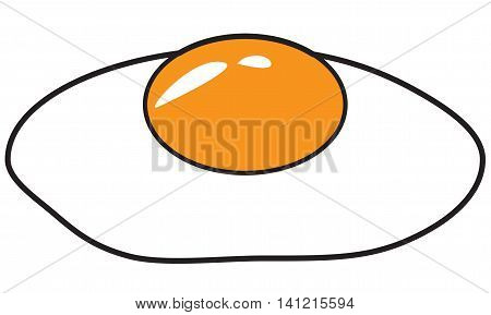 Vector illustration of fried egg in colored doodle style