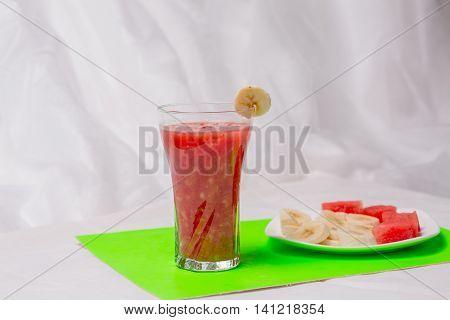 BANANA AND WATER-MELON SMUZ, watermelon, banana, smoothie, cocktail, juice