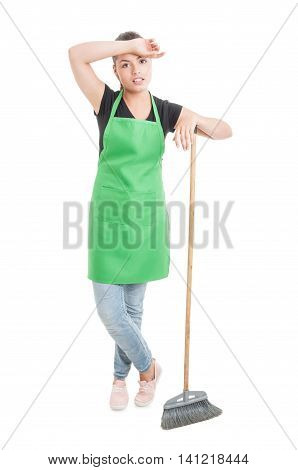 Young Hypermarket Employee With Broom