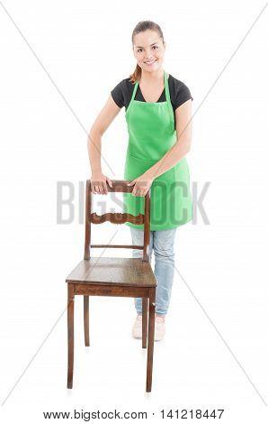 Joyful Cute Employee Standing Behind Wooden Chair