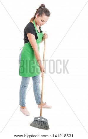 Hypermarket Employee Sweeping The Store