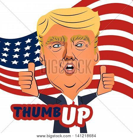 August 3 2016 Ukraine. Character caricature portrait Donald Trump thumb up giving a speech. Positive caricature of a prominent politician billioner who is running for President. American flag tie